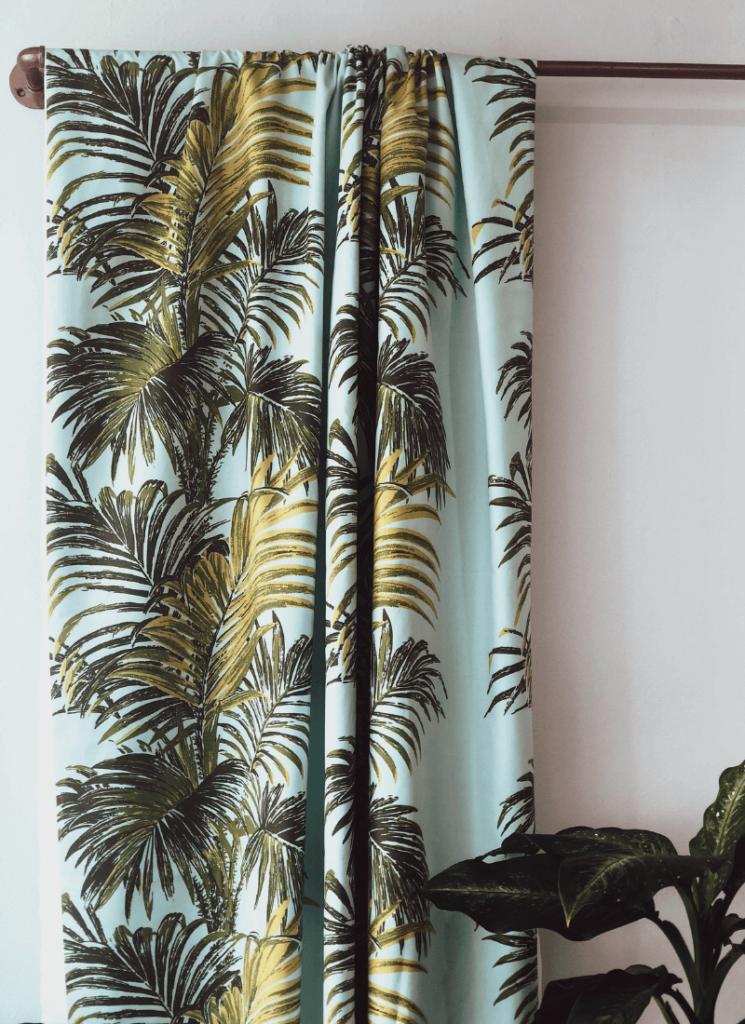 Palm print, drapery, Florence Broadhurst fabrics