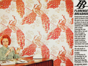 Florence Broadhurst, peacock wallpaper, office