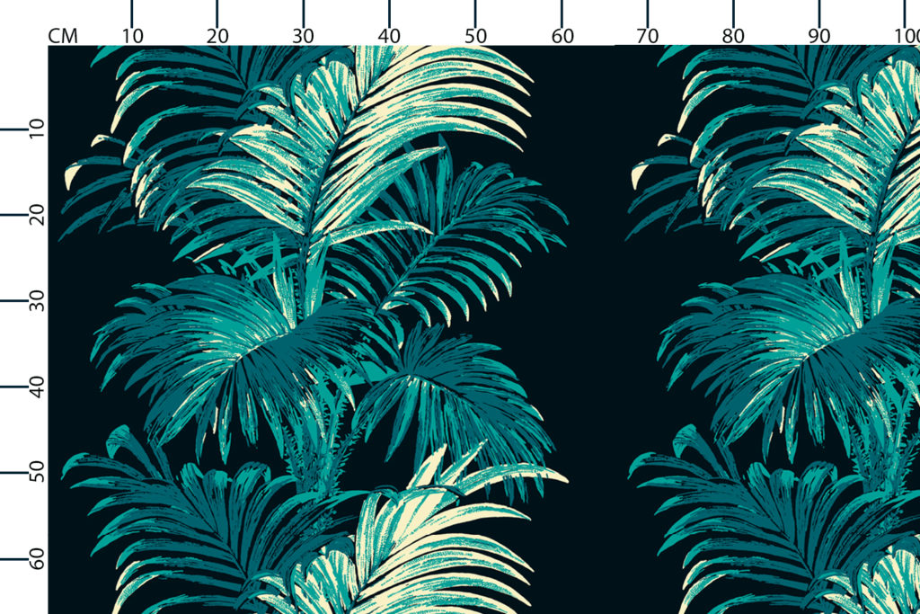 Palm fabric design scale, centimetres