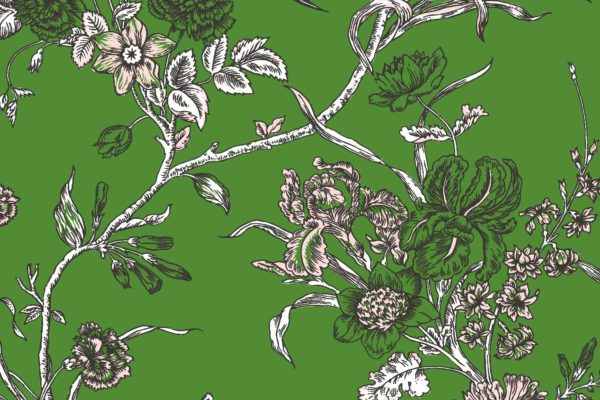 Carnation, garden, Florence Broadhurst fabric