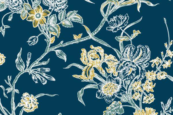 Carnation, kingfisher, Florence Broadhurst fabric