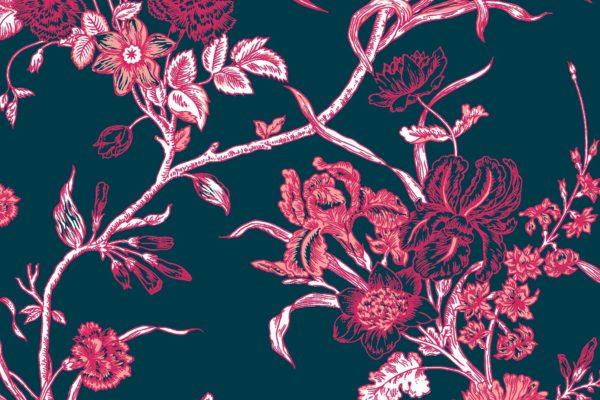 Carnation, navy, Florence Broadhurst fabric