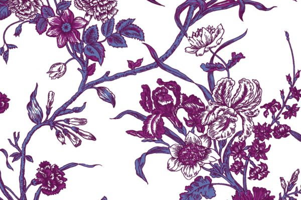 Carnation, plum, Florence Broadhurst fabric