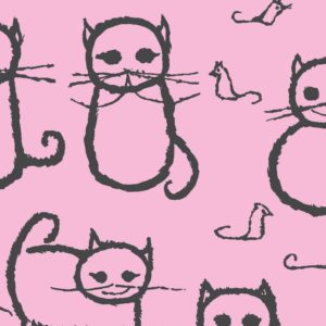Cats, candy floss, Florence Broadhurst fabric, kids fabrics