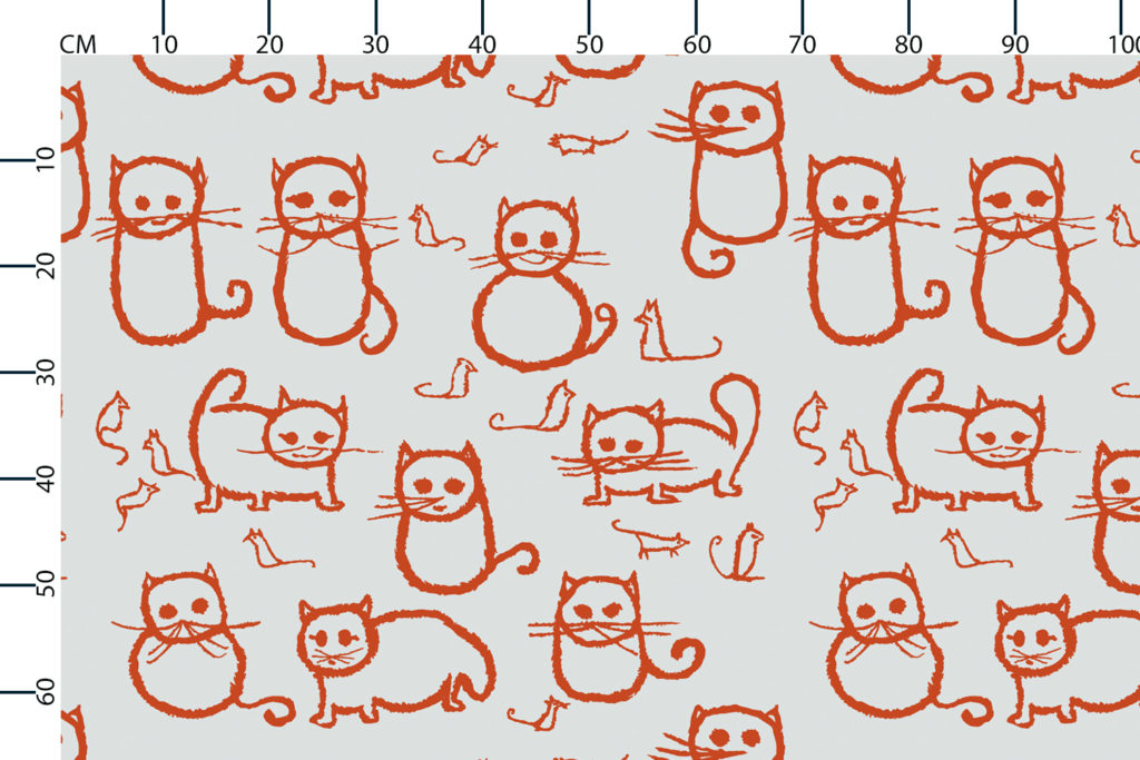 Cats fabric design scale, centimetres