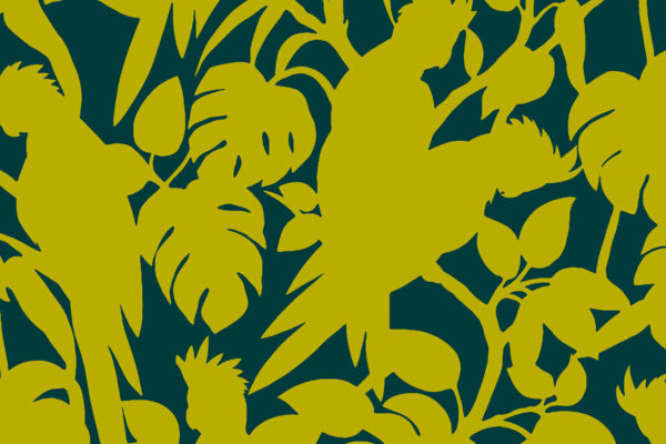 Cockatoos, forest, Florence Broadhurst fabric