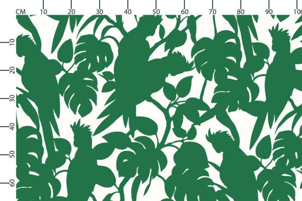 Cockatoos fabric design scale, centimetres