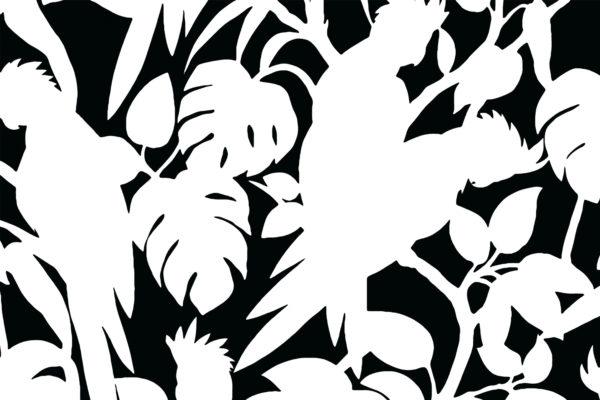 Cockatoos, soot, Florence Broadhurst fabric