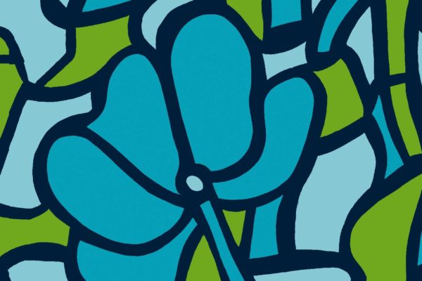 Stained Glass, turquoise, Florence Broadhurst fabric