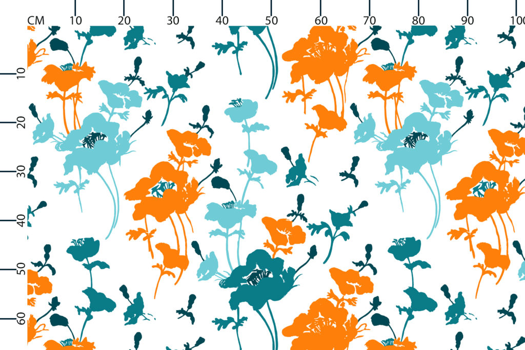 Floral 300 fabric design scale, centimetres