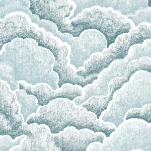 Halftone Clouds, drizzle, Florence Broadhurst fabric