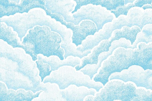 Halftone Clouds, fresh, Florence Broadhurst fabric