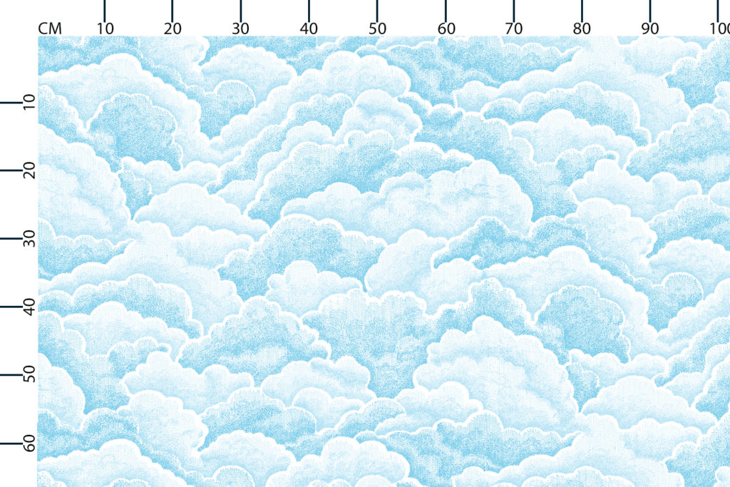 Halftone clouds fabric design scale, centimetres