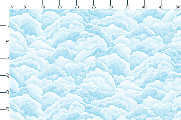 Halftone clouds fabric design scale, inches
