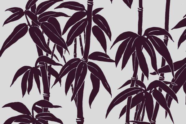 Japanese Bamboo, aubergine, Florence Broadhurst fabric