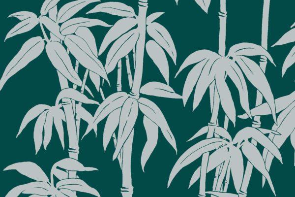 Japanese Bamboo, vert, Florence Broadhurst fabric