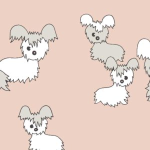 Pups, blush, Florence Broadhurst fabric