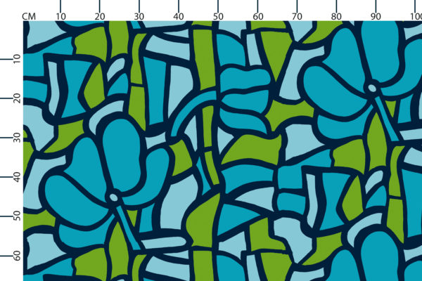 Stained Glass fabric design scale, centimetres