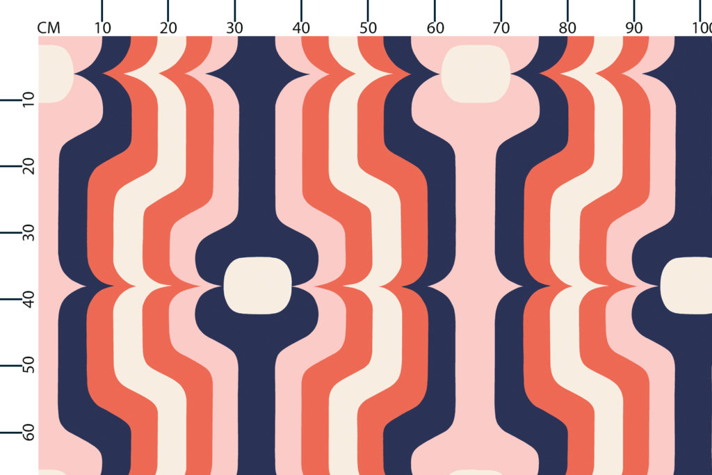 Swedish Stripe fabric design scale, centimetres