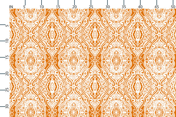 Wishbone Tapestry fabric design scale, inches