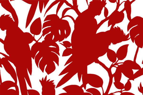 Cockatoos fabric, scarlet, Florence Broadhurst Fabrics