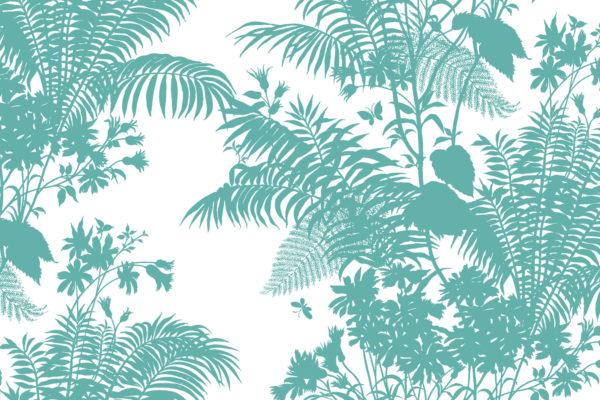 Shadow Floral fabric, turquoise, Florence Broadhurst Fabrics
