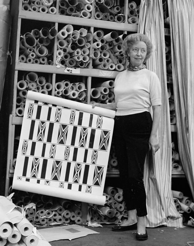 Florence Broadhurst with wallpaper design