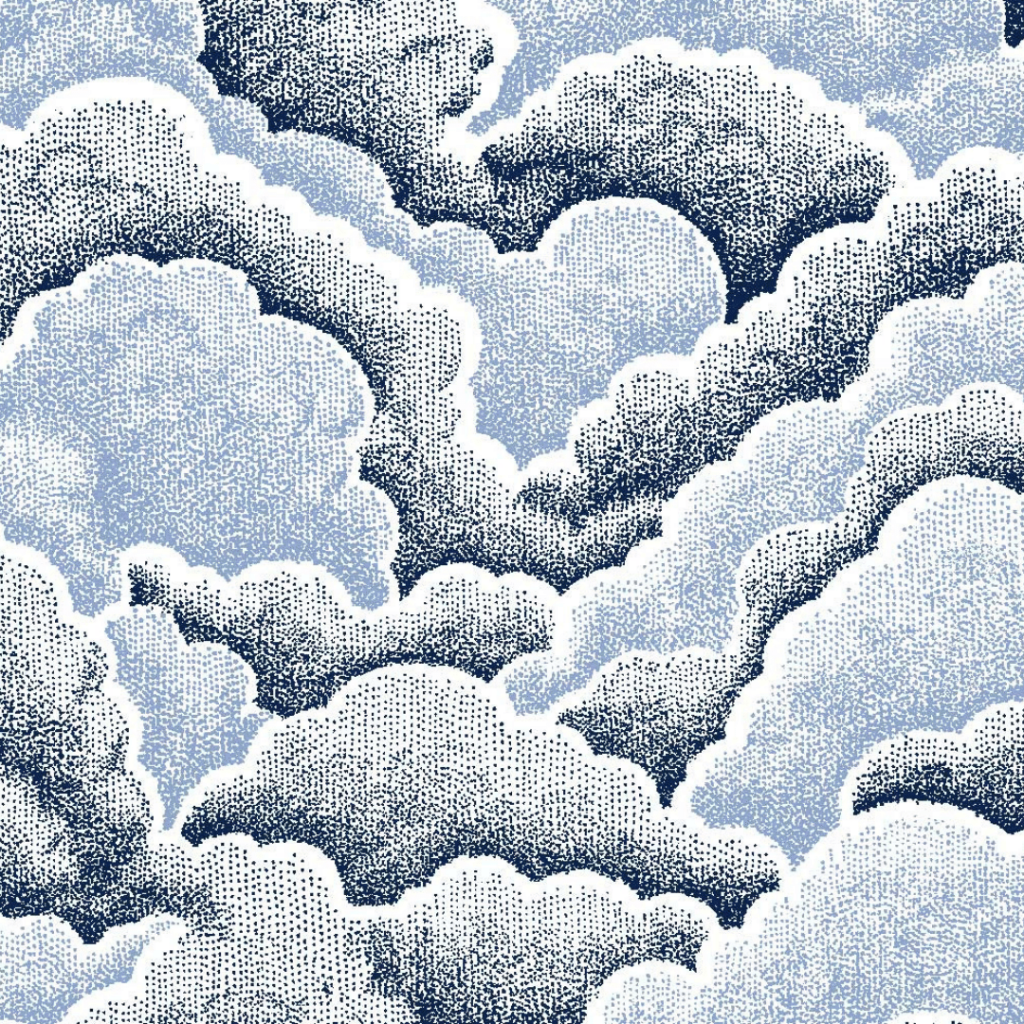 Halftone Clouds, Denim