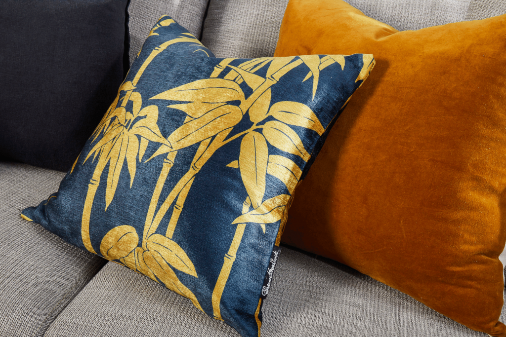 Japanese Bamboo, Mustard, cushion