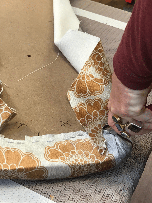 Stapling the fabric corners