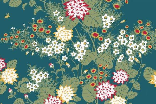 Chinese Floral Dusky Blue, Textiles