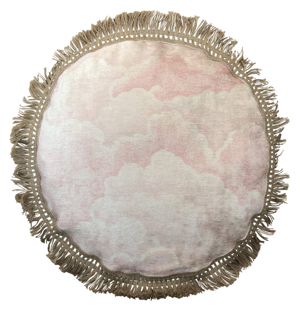 Halftone Clouds Rose, Round Cushion