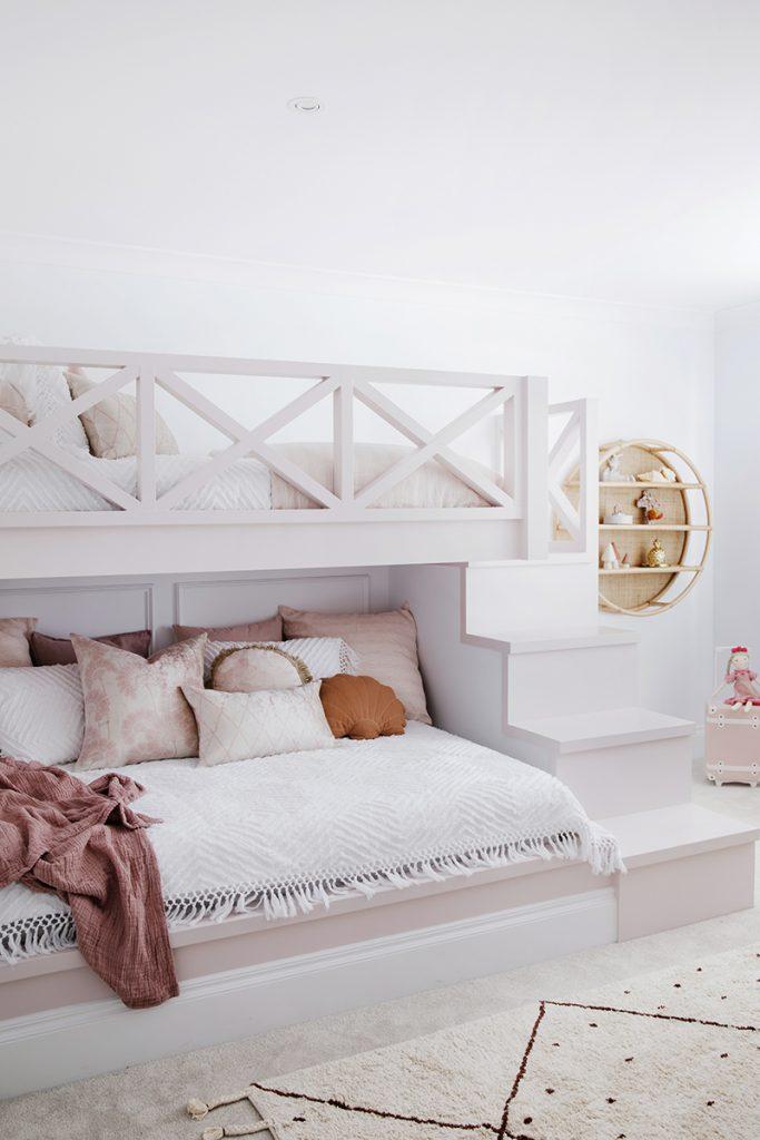 GIrls bedroom, pink cushion covers, Florence Broadhurst, Three Birds