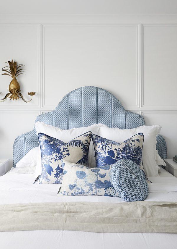Master bedroom, bedhead fabric, cushions, Florence Broadhurst, Three Birds Renovations