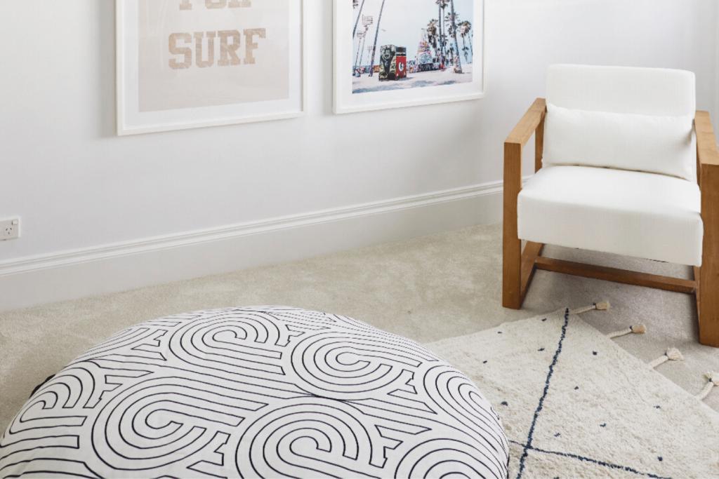IKEA floor cushion Three Birds Renovations, Florence Broadhurst fabric