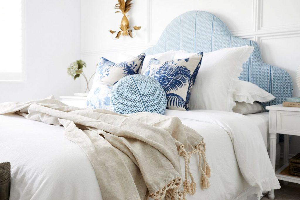 Master bedroom, cushion covers, bedhead fabric, Three Birds Renovations