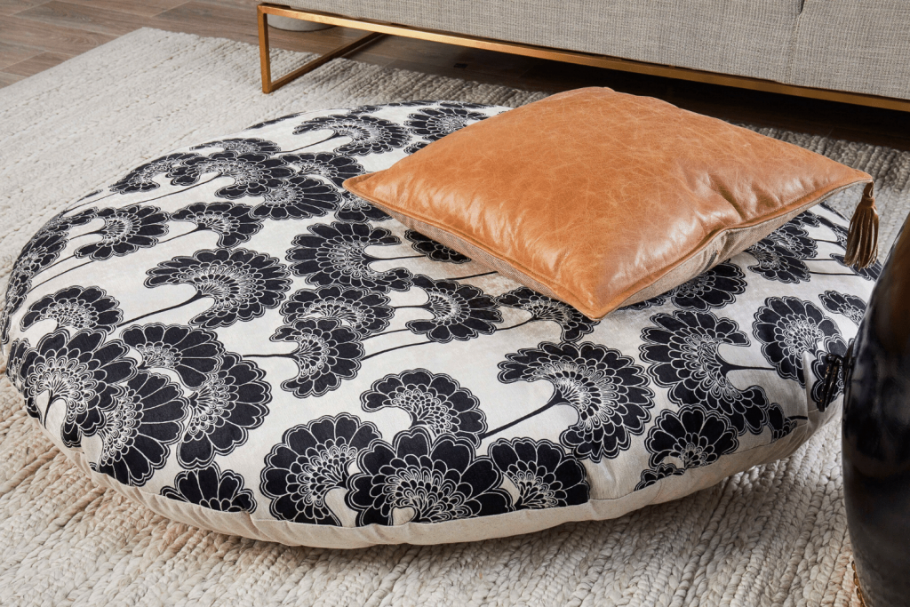 Recover IKEA floor cushion in Florence Broadhurst fabric