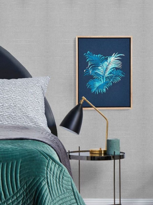 Florence Broadhurst 4 Colour Palm, Teal - Framed Canvas Art