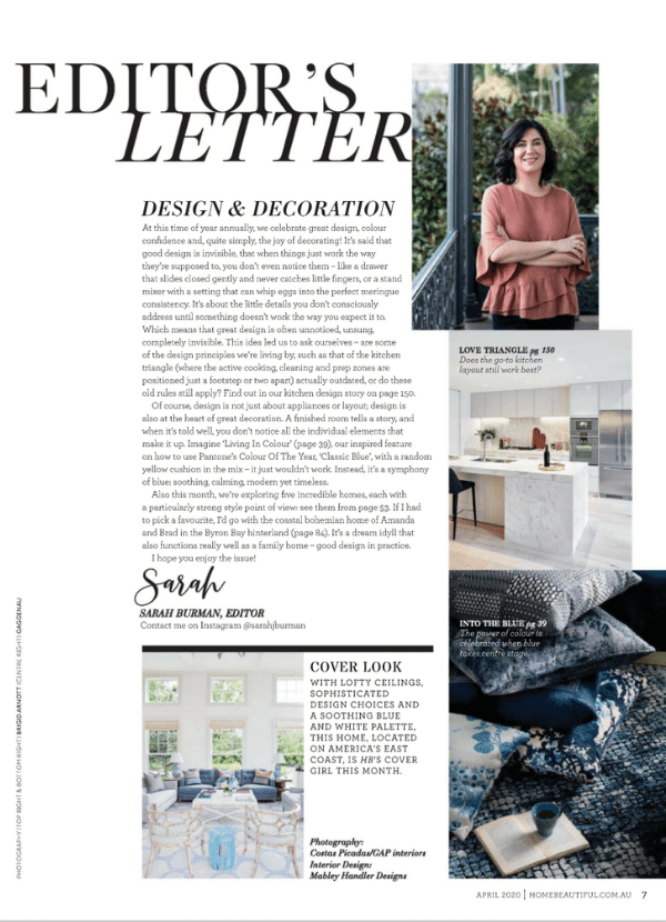 Home Beautiful April 2020 Editors Letter