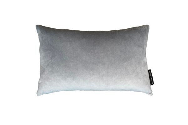 Chinese Key Slate, Silver velvet rectangle cushion cover, back