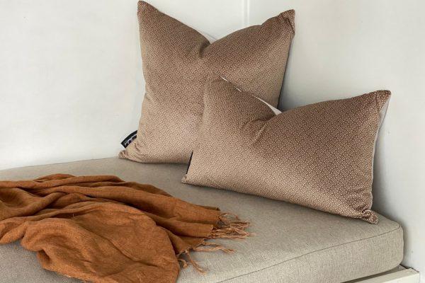 Chinese Key velvet cushion covers, Honey