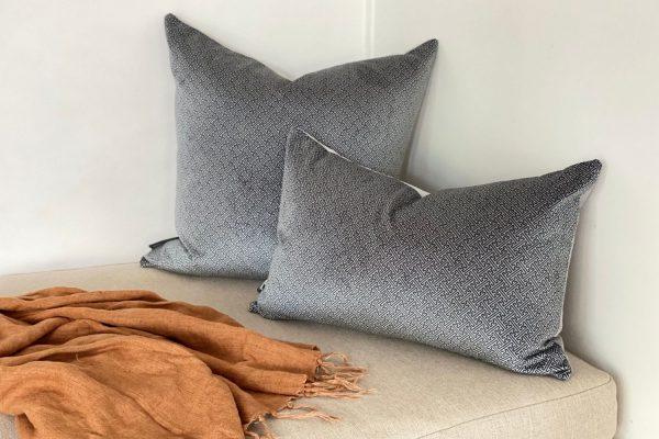 Chinese Key velvet cushion covers, Slate