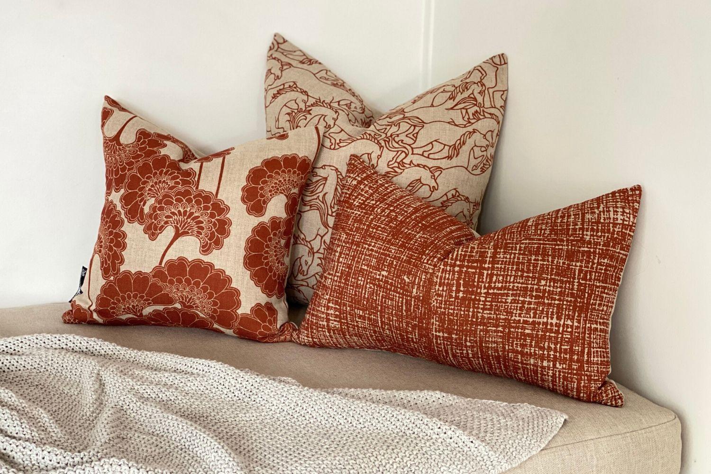 Japanese Floral Rust Square Cushion Cover Florence Broadhurst Fabrics