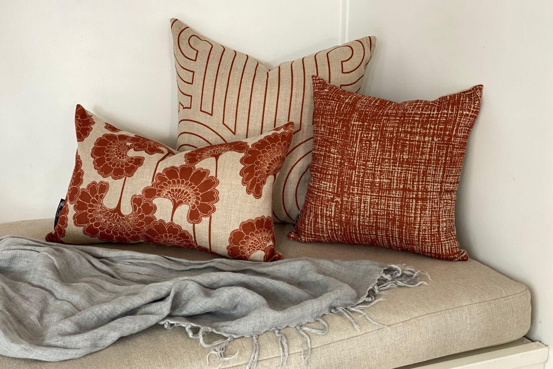 Hessian Rust Square Cushion Cover Florence Broadhurst Fabrics