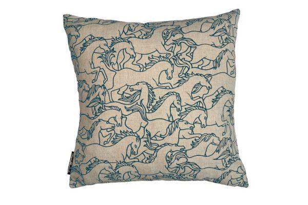 Horses Stampede Marine Euro cushion