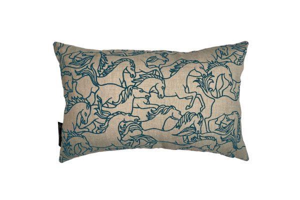 Horses Stampede Marine rectangle cushion