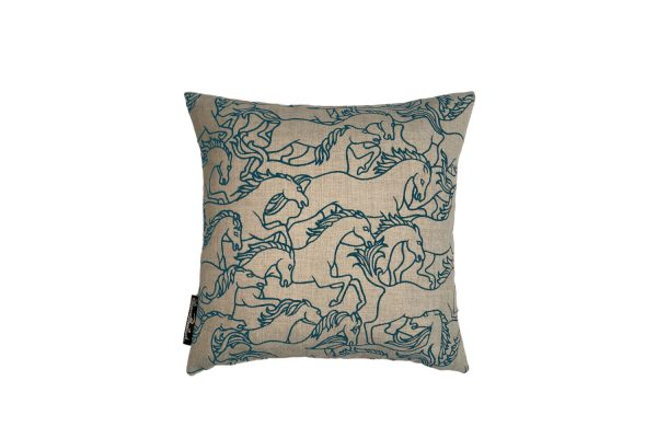 Horses Stampede Marine square cushion